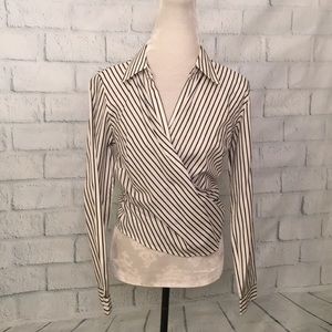 Don Caster pin stripe wrap blouse